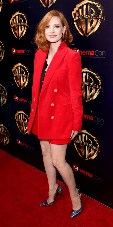 During an event for It: Chapter Two , Jessica Chastain wore a Bella Freud blazer ($993; net-a-poreter.com ) and shorts with colorful Christian Louboutin heels ($775; barneys.com ).