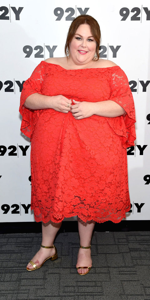 For a conversation on her new film Breakthrough , Chrissy Metz wore a bright red lace dress with metallic sandals.