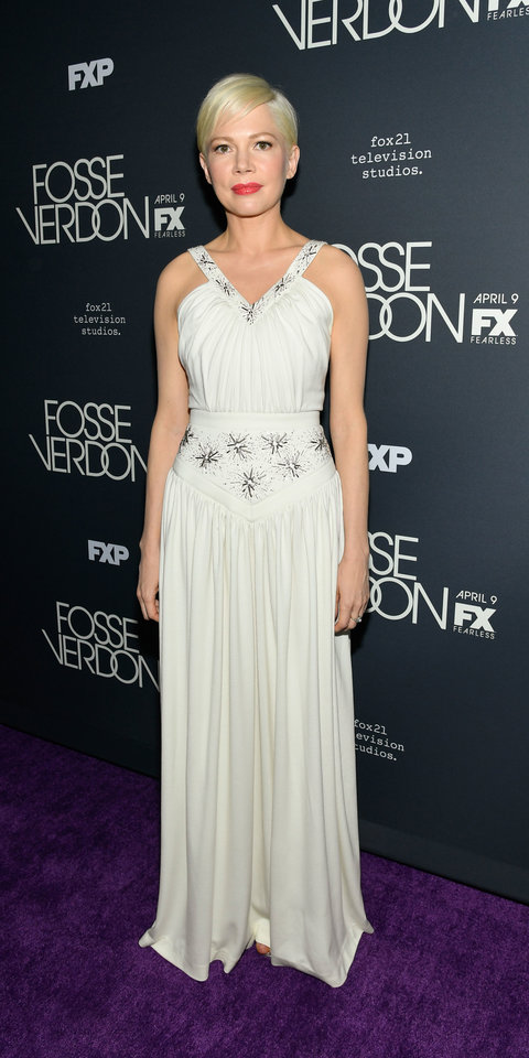 Michelle Williams attended the premire of Fosse/Verdon , in a custom Louis Vuitton gown with intricate beading.