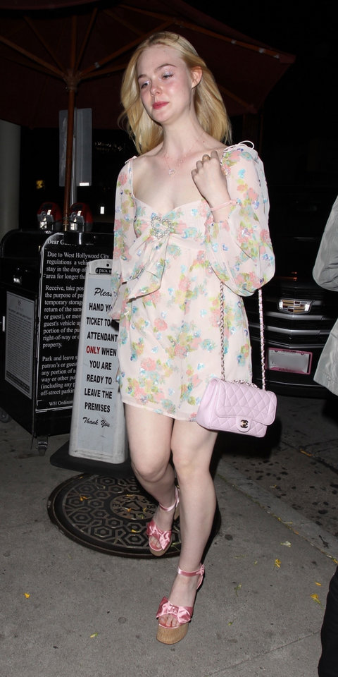 For her 21st birthday, Elle Fanning wore a pretty floral dress with pink platform heels and a Chanel bag.