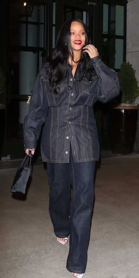 Rihanna went with a denim-on-denim look for a night out in New York City.