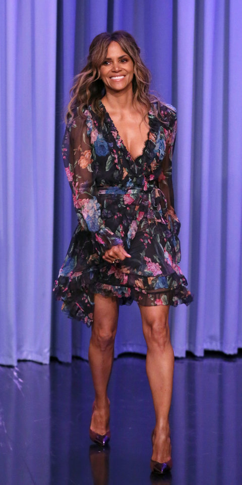 Halle Berry stunned in a Zimmermann dress ($850; neimanmarcus.com ) and pointed-toe pumps during an appearance on The Tonight Show Starring Jimmy Fallon .