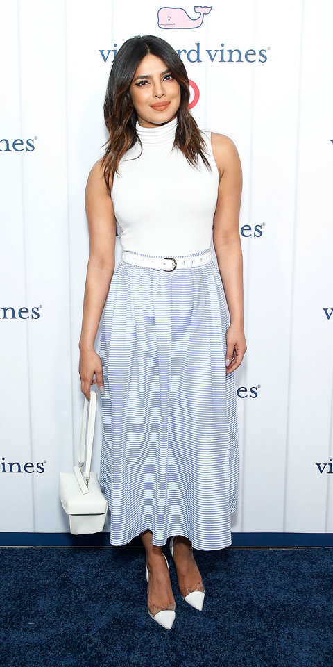 Priyanka Chopra stepped out for a celebration of the Vineyard Vines x Target collab in a sleeveless white turtleneck tucked into a skirt from the line.