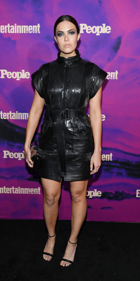 Mandy Moore went with a black leather Dundas dress and matching Christian Louboutin heels and a coordinating clutch for the Entertainment Weekly and People Upfronts party.