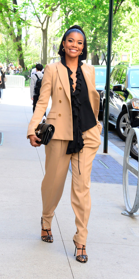 Gabrielle Union stunned wearing Altuzarra separates from the latest Pre-Fall collection and Sergio Rossi heels ($850; orchardmile.com ).