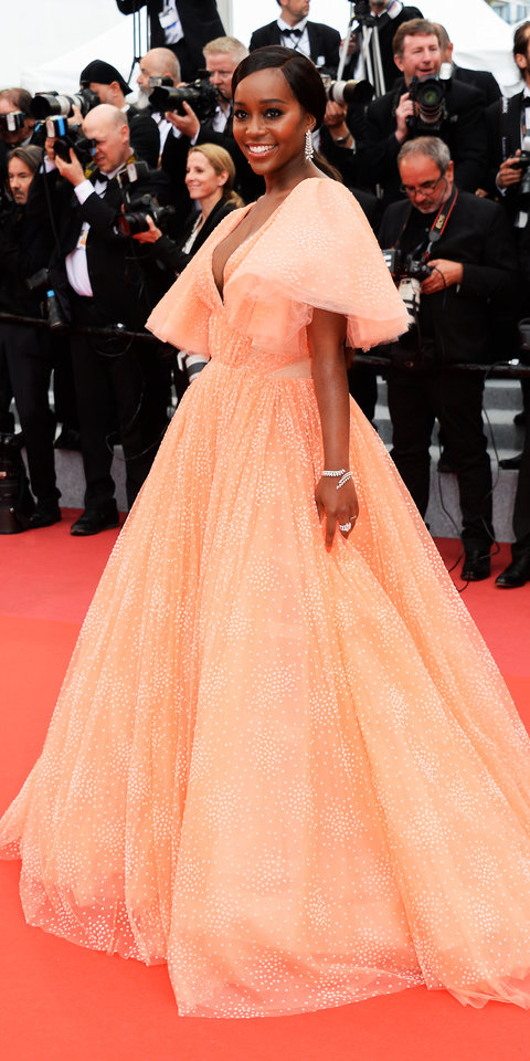 Aja Naomi King stunned at the 72nd Cannes Film Festival in a peach Zac Posen gown.