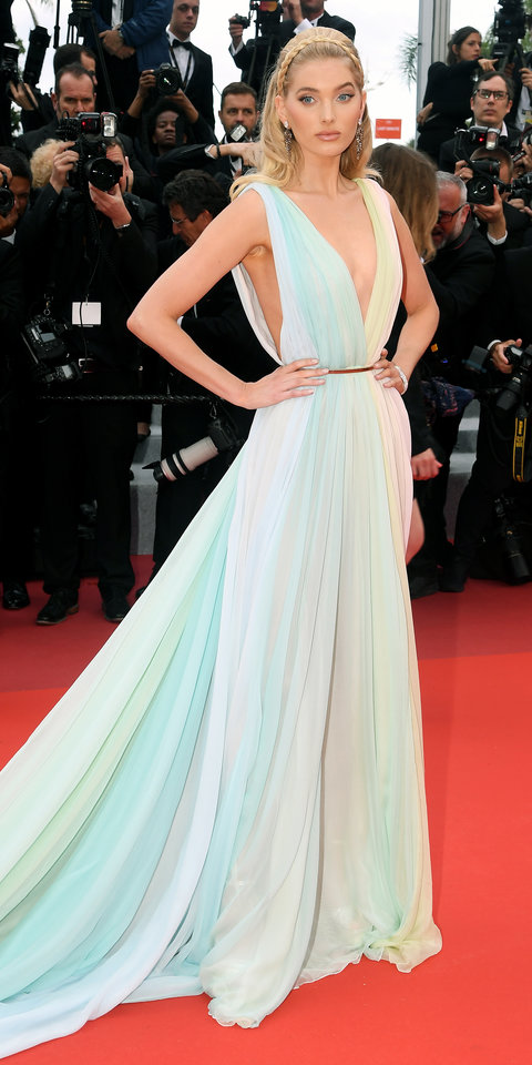 Elsa Hosk wowed in a pastel-hued Etro gown during the Cannes Film Festival celebration.