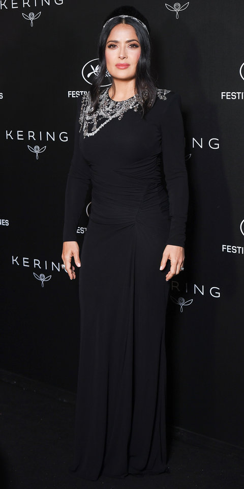 Salma Hayek kept things elegant in a crystal-embellished Gucci gown during the Women in Motion Awards.