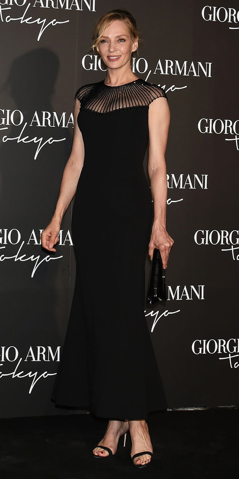 Uma Thurman wowed in a black gown at the Giorgio Armani Cruise 2020 Show in Tokyo, Japan.