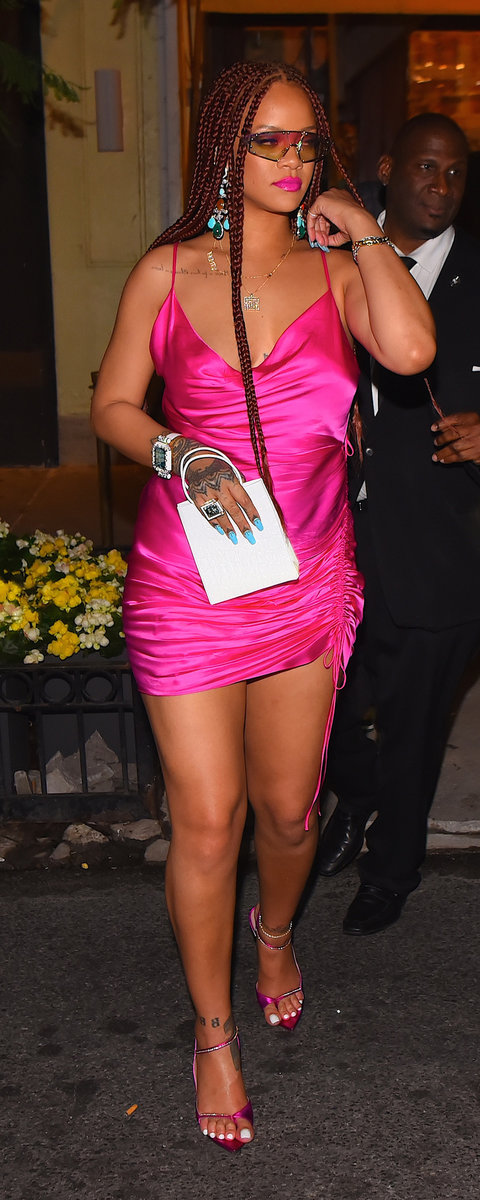 Rihanna's FlatteringRuched Dress Is the Party Look We All Need This Summer   InStyle.com