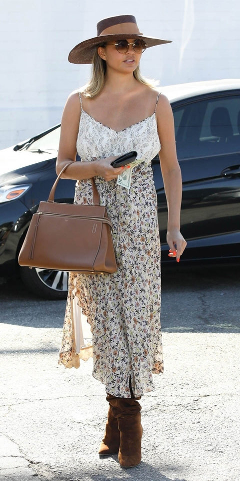 Chrissy Teigen Is Already Testing Out This Winning Fall Outfit Combo | InStyle.com