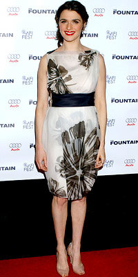 Rachel Weisz in Vera Wang and Manolo Blahnik