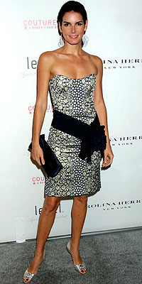 Angie Harmon in Carolina Herrera and Manolo Blahnik, carrying Christian Louboutin