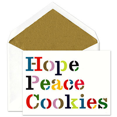 Fine Stationery, holiday card, Christmas card, Kate Spade, Hope Peace Cookies