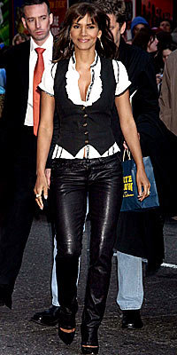 Halle Berry in Alvin Valley, Roberto Cavalli, and Gold Sign