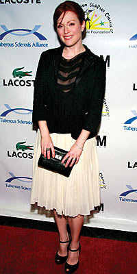 Julianne Moore in Prada, Lanvin, and Butik