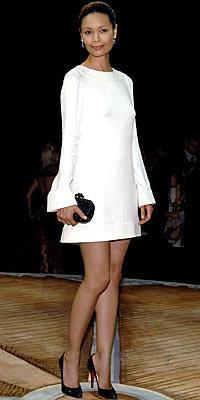 Thandie Newton in Azzaro and Christian Louboutin, carrying Bottega Veneta