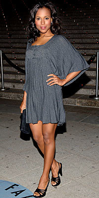 Kerry Washington in Diab'less and Sergio Rossi, carrying Rodo