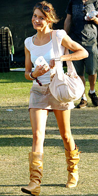 Cameron Diaz in Loeffler and Randall boots, carrying Marc Jacobs