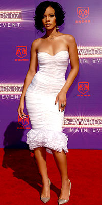 Rihanna in Herve Leger and Christian Louboutin