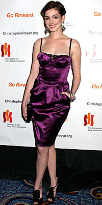 Anne Hathaway, Dolce & Gabbana, The Look, celebrity trends, purple satin