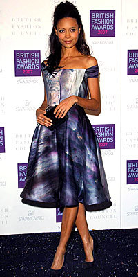 Thandie Newton in Giles and Sergio Rossi