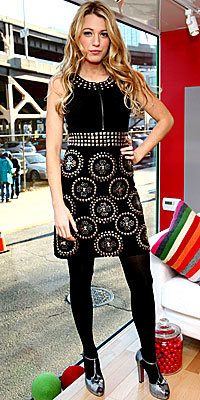Blake Lively in Diane von Furstenberg and Miu Miu
