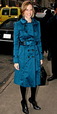 Hilary Swank, trenchcoats, trench, Burberry Prorsum, Style 101