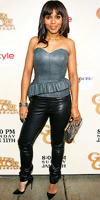 Kerry Washington in Helmut Lang and Yves Saint Laurent and Christian Louboutin
