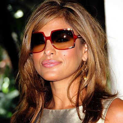 Eva Mendes in square sunglasses.