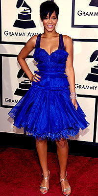 Rihanna, Zac Posen, grammys, trends, celebrity trends, blue dress