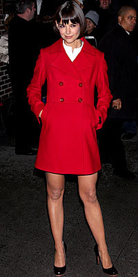 Katie Holmes, Fay, red coat, celebrity fashion, celebrity style