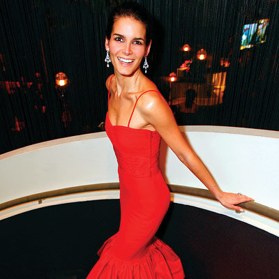 Angie Harmon in Valentino, 2008 Academy Awards, Oscars, In Style Viewing Party