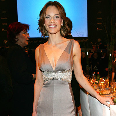 Hilary Swank in Versace, Cinema for Peace gala, 2008 Berlin Film Festival