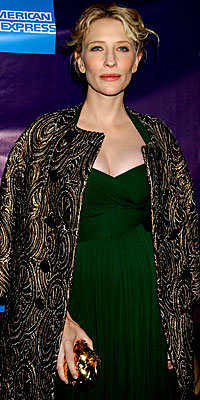 Cate Blanchett, Monique Lhuillier, brocade, coat, celebrity trends, celebrity style