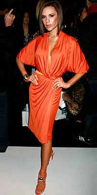 Victoria Beckham, Donna Karan, Versace, the look, head-to-toe color, orange dress, orange shoes