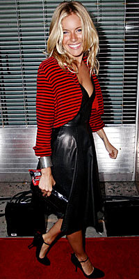 Sienna Miller, Alexander McQueen, leather dresses, The Look, celebrity trends