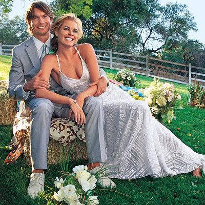 Husband and wife couple: Jerry O'Connell and Rebecca Romijn at their wedding ceremony