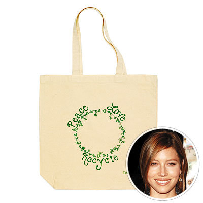 Jessica Biel, Tina Tang, tote bag, reusable bag, green bag, green stars