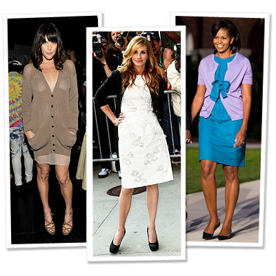 Liv Tyler in Burberry - Julia Roberts in Dolce & Gabbana - Michelle Obama - Key Pieces for Fall - Cardigans