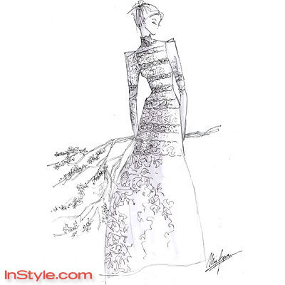 fashion designers sketch bellas wedding dress instylecom