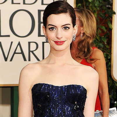 2009 Golden Globes, Makeup Trends, Bold Red Lips, Anne Hathaway