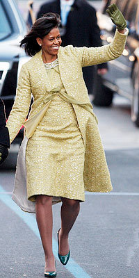Michelle Obama in Isabel Toledo and Jimmy Choo shoes