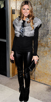 Olivia Palermo in Armani Exchange and Daryl K and Bakers shoes