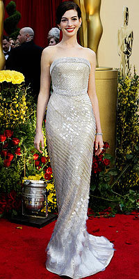 Anne Hathaway in Armani Prive
