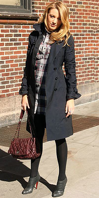 Blake Lively in Burberry Prorsum and Christian Louboutin carrying Chanel