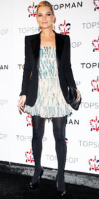 Kate Moss in Topshop and YSL shoes