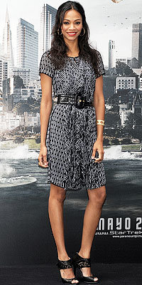 Zoe Saldana in Loewe and Jimmy Choo shoes