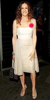 Sarah Jessica Parker in Alexander McQueen shoes carrying Chanel