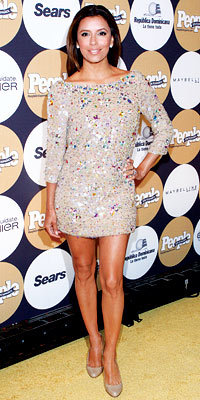 Eva Longoria Parker in Blumarine and Christian Louboutin